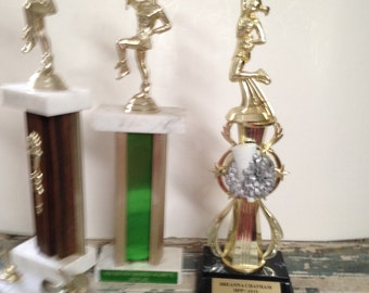 Collection of Trophies Majorette Cheerleader Marble Base Plastic Girls