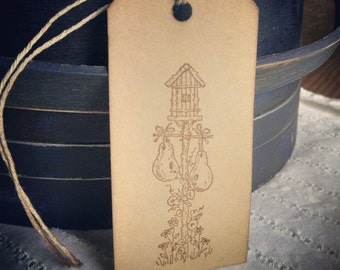 """Garden Thyme Gourds- set of 12 handstamped gift tags, birdhouse & gourds, sized 3 3/4"""" x 1 7/8"""""""