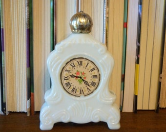 Vintage Avon Brand Brocade Foaming Bath Oil - Clock Bottle
