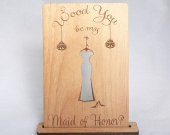 Indigo Ember's T Wood Card Stand - Wooden Greeting Card Holder