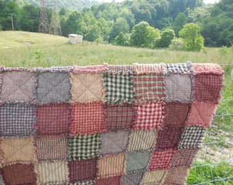 Country Cabin Homespun Rag Quilt!!!!  Made To Order !!! Twin To King Size!!!