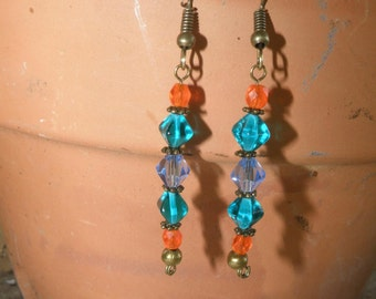 Orange, Teal and Sky Blue Faceted Glass Earrings