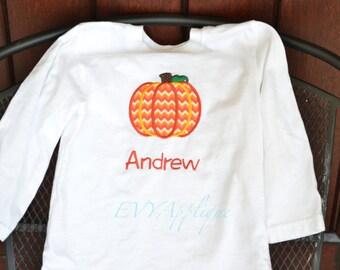 Boys Personalized Pumpkin Halloween Shirt, Tee or bodysuit - Girls or Boys Halloween shirt - girls or boys fall pumpkin shirt or tee