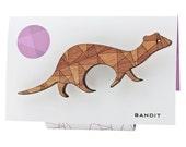 Bandit the Ferret - geometric wooden brooch