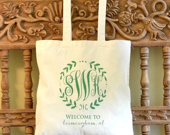 Monogrammed Canvas Wedding Welcome Totes, Wedding Monogram Printed Tote Bags, Destination Weddings, Personalized Wedding Favors