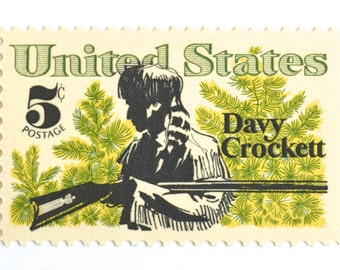 Qty of 10 Davy Crockett Postage Stamps // 5 Cent Green Vintage 1967 Stamp Set