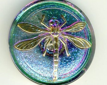 Czech glass button iridescent green/purple with gold dragonfly design - size 14, 31.5 mm FCB 1097