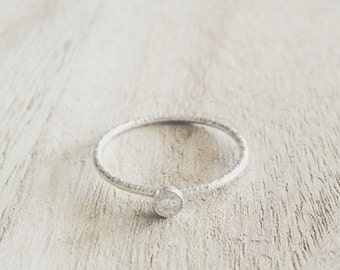 Textured 3mm CZ ring, texture ring, cz ring, 3mm cz ring, sterling silver, stacking ring, stacker, stackable, solitaire ring