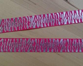Hot Pink Animal Print Ribbon Lanyard / ID Badge Holder