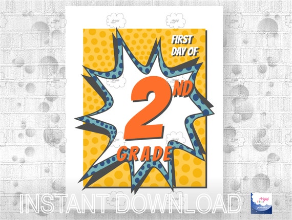First Day School for 2nd Grade - poster - generation image photo prop - download