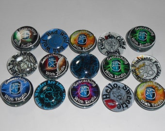 Geocache Glass Trading Stones - Doctor Who Gallifreyan / Tardis Theme