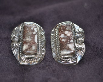 Handmade Sterling Silver and Wild Horse Appaloosa Post Back Earrings