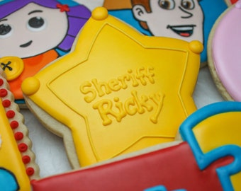 Toy Story Inspired Sheriff Badge Cookies