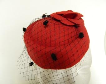 Vintage inspired red oval fascinator hat