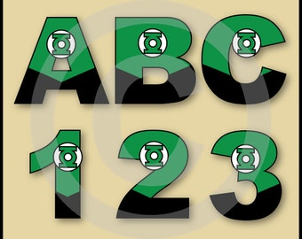 Green Lantern (Justice League) Alphabet Letters & Numbers Clip Art Graphics