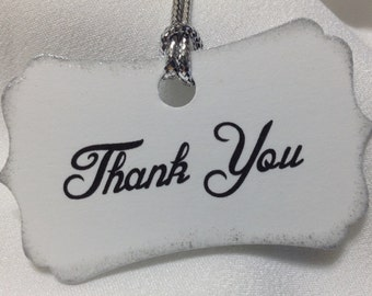 Wedding Shower Thank You Tags - Wedding Shower Tags With Silver Edging- Shower Favor Tags  - Wedding Tags - Set Of 10 - Free Shipping