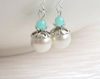 Mint green Bridesmaid Jewelry Gift Earrings Bridesmaid Mint Earrings jewelry Ivory Flower Girl earrings Jewelry set Wedding Party