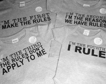 Set of 4 Sibling Rules T- Shirts - Brothers or Sisters Rules - 1st, 2nd, 3rd & 4th Sibling Rules T - Shirts