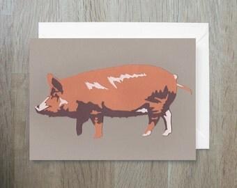 SALE - Tamworth Pig - Greeting Card - British Rare Breed - Papercut - Pig Card