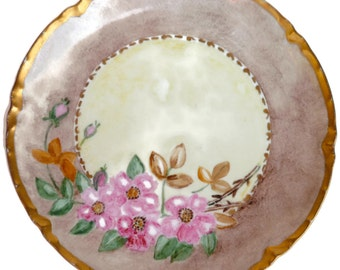 Antique Haviland Floral Porcelain Plate / Luncheon Plate / Hand Painted / Made In France / Gold Rim / Serving