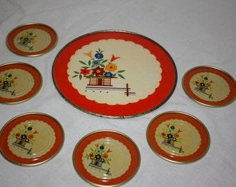Vintage Metal/Tin Coasters and Trivot/Tray Set Art Deco Style