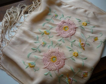 Antique Victorian Peach Silk Embroidered Floral Fringe Driving Scarf