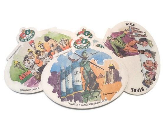 Belgian beer coasters de koninck vintage cardboard beer - Cardboard beer coasters ...