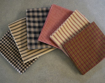 6 Black/Red Homespun Fat Quarters