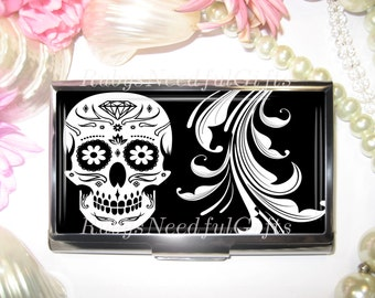 Business Card Holder, Card Holder, Cigarette Case, Business Card Case, Stainless Steel, Card Case,  Credit Card Case, Skull.