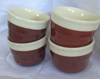 Oxford Brown & Cream Custard Cups - Set of 4