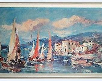 Vintage Mediterranean Seascape Print 1960s