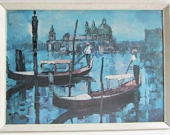 Venice Gondola, Vintage 1960s Print