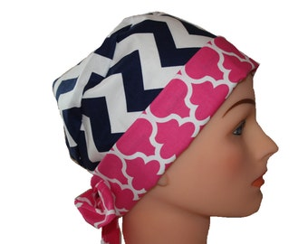Surgical Scrub Hat Scrub Chef Doctor Vet Nurse Cap Flirty Front Fold Pixie Black White Chevron Pink Quatrefoil  2nd Item Ships FREE