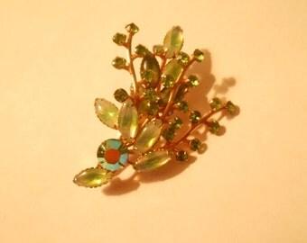 vintage green rhinstone brooch