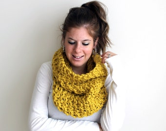 Chunky Knit Scarf Knitted Cowl Citron- Calvert Cowl