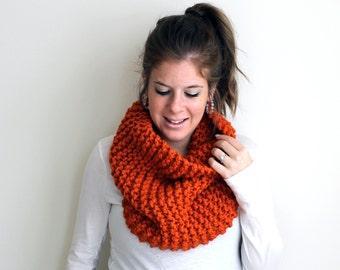 Cowl Infinity Loop Scarf Knit Orange - Sotterley Cowl