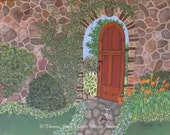 Secret Garden Wall Art Print  ~ Original Fantasy Wall Art by Theresa Stahl ~ Zen Decor, Relaxing Bedroom decor, Mothers Day, Best Gift Ideas