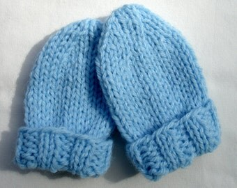 Knitted Baby Mittens - Knit Thumbless Infant Mittens - Thumbless - 3 to 12 Months - Light Blue