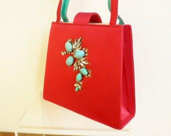 SALE Vintage couture Lesage handbag jewel ENCRUSTED prong set embroidered Paris provenance
