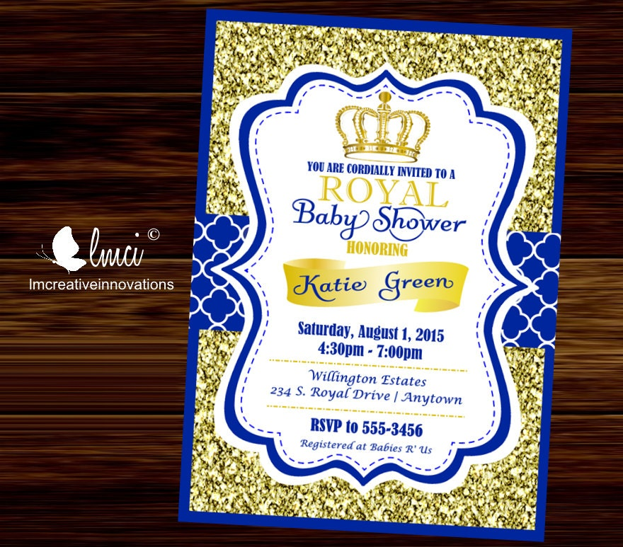 royal baby shower invitation little prince baby showerblue