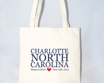 Set of 12 Charlotte, NC Wedding Hotel Bags, Local Welcome Totes, Personalized Wedding Bags, City, State, Name, Date Event Bags