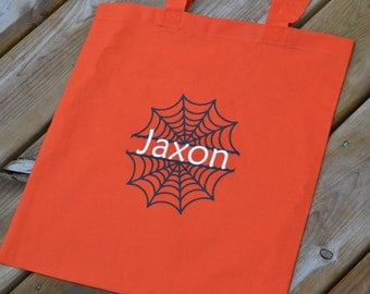 Spiderweb Personalized Halloween Trick Or Treat Bag - Trunk-Or-Treat - Personalized With Name