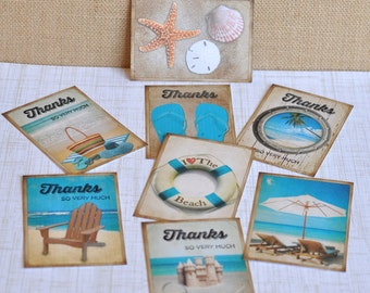 Customizable Beach Themed Thank You Tags:  Any Occasion - set of 8