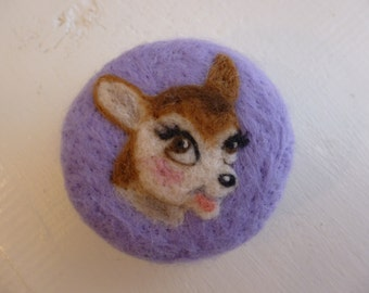 Vintage style needle felted pin cushion with a deer design
