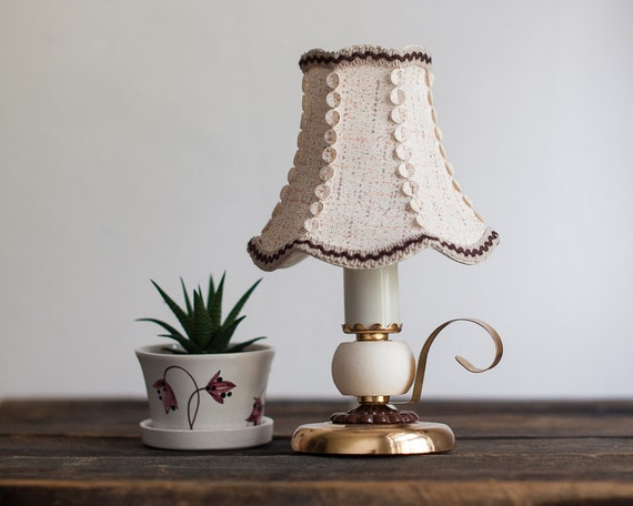 vintage bedside lamp small table lamp night light lampshade. Black Bedroom Furniture Sets. Home Design Ideas