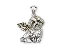Solid Sterling Silver Bichon Frise Angel Pendant Jewelry  D07-AP