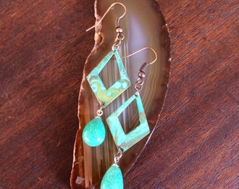 Handmade Pierced Verdigris Patina Earrings With Copper And Jadeite Jade Beads RM211E