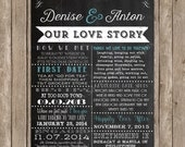 Chalkboard Love Story Timeline Printable Poster - Love Story Printable Sign - Our Love Story - Printable Wedding Sign - DIY Printable