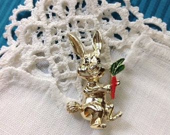 Gerry Bunny Rabbit with a Carrot Figural Pin Brooch
