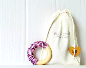 Natural wood teething ring for baby
